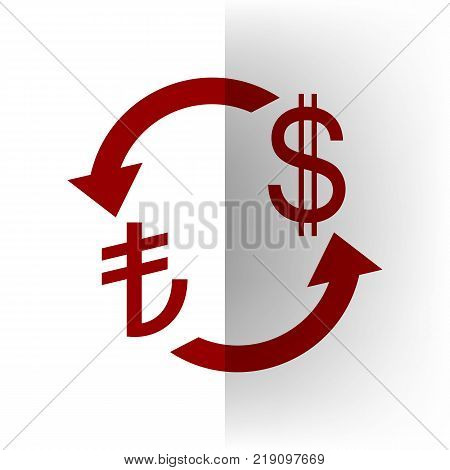Currency exchange sign. Turkey Lira and US Dollar. Vector. Bordo icon on white bending paper background.