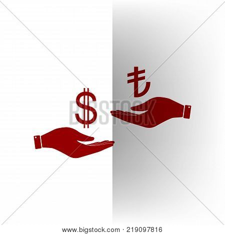 Currency exchange from hand to hand. Dollar and Turkey Lira. Vector. Bordo icon on white bending paper background.