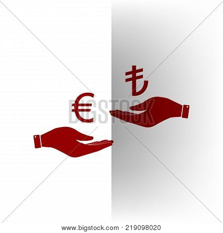 Currency exchange from hand to hand. Euro and Lira. Vector. Bordo icon on white bending paper background.