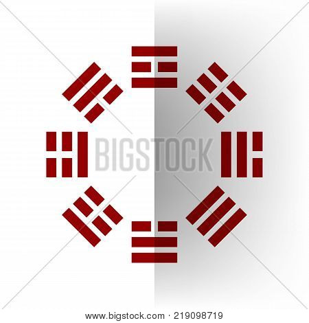 Bagua sign. Vector. Bordo icon on white bending paper background.
