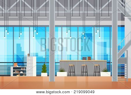 Coworking Space Interior Open Coworking Center Office Creative Workplace Environment Flat Vector Illustration