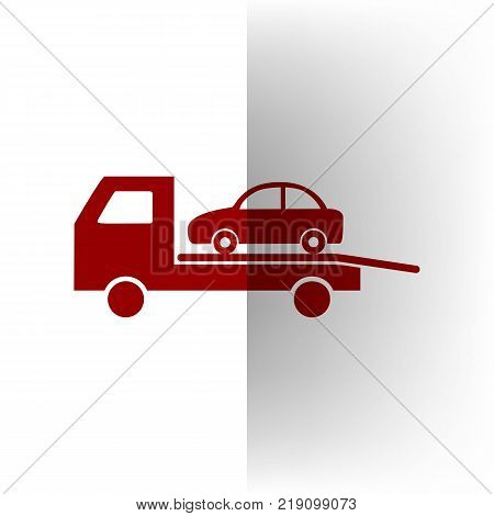 Tow car evacuation sign. Vector. Bordo icon on white bending paper background.