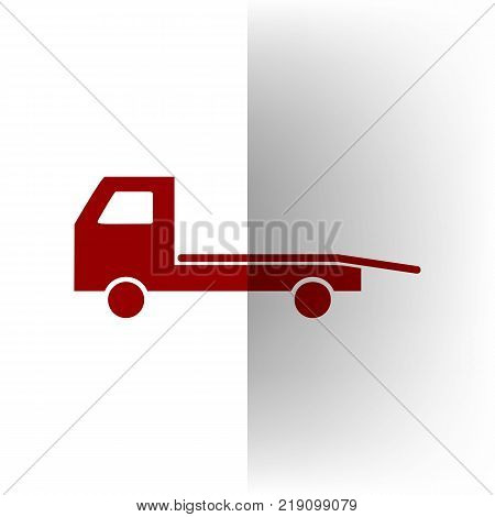 Service of evacuation sign. Wrecking car side. Car evacuator. Vehicle towing. Vector. Bordo icon on white bending paper background.