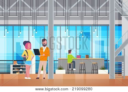 Coworking Space Interior Modern Business People Coworkers Working In Modern Office Center Flat Vector Illustration