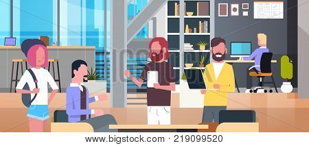 Coworking Office Interior With Casual People Working, Casual Businesspeople Group In Coworkers Center Flat Vector Illustration