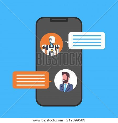 Business Man Chatting With Chatbot Service Using Cell Smart Phone Icon Vector Illustration