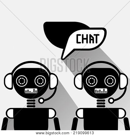 Chatbot Service Icon Concept Black Chat Bot Or Chatterbot Online Support Technology Vector Illustration
