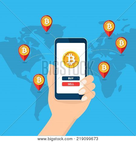 Mobile bitcoin business. Hand holding smartphone. Map, Earth, pin. Screen button buy, sell, bit coin, cryptocurrency. Finance, global digital money. Vector Flat design infographic. Web site mobile app
