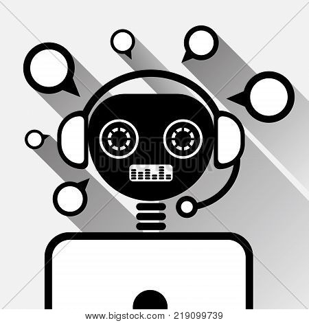 Chatbot In Laptop Icon Concept Black Chat Bot Or Chatterbot Service Of Online Support Technology Vector Illustration