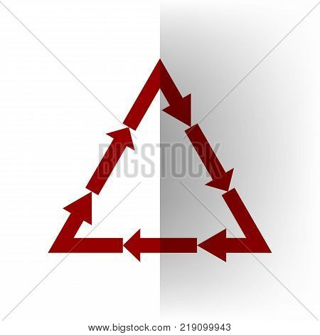 Plastic recycling symbol PVC 3 , Plastic recycling code PVC 3. Vector. Bordo icon on white bending paper background.