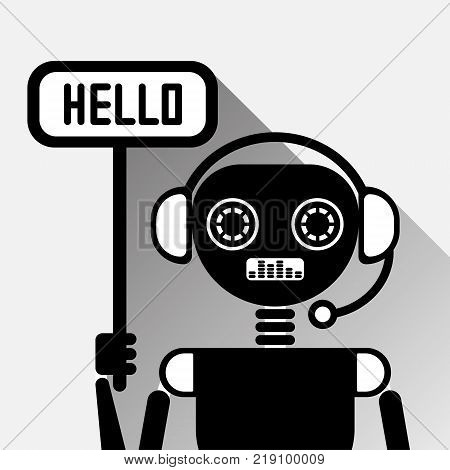 Chatbot Says Hello Icon Concept Black Chat Bot Or Chatterbot Service Of Online Support Technology Vector Illustration