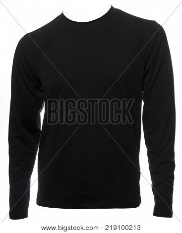 Black plain long sleeved cotton T-Shirt template isolated on a white background