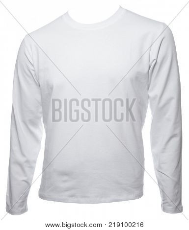 White plain long sleeved cotton T-Shirt template isolated on a white background