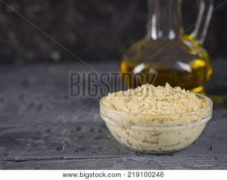 Fresh pasta tahini from sesame seeds with olive oil and lemon juice. The sauce for the vegetarian diet.