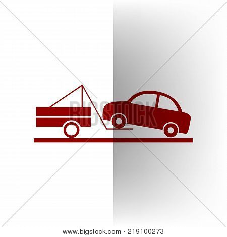 Tow truck sign. Vector. Bordo icon on white bending paper background.