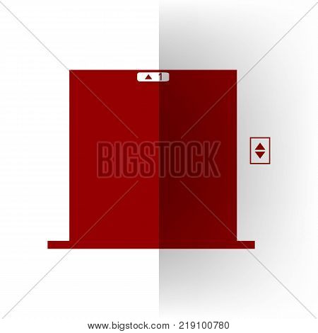 Elevators door sign. Vector. Bordo icon on white bending paper background.