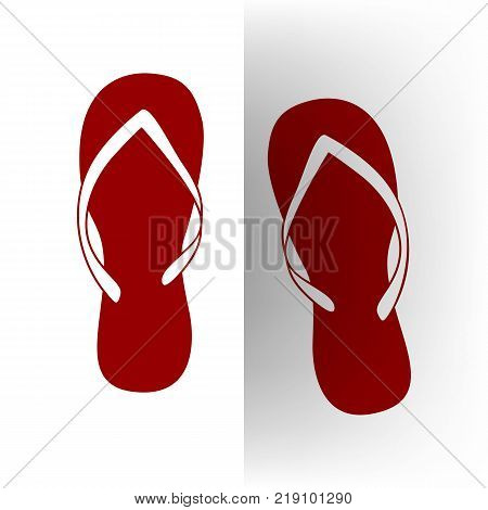 Flip flop sign. Vector. Bordo icon on white bending paper background.