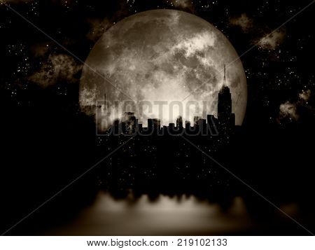 3D rendering. Full moon over night city.