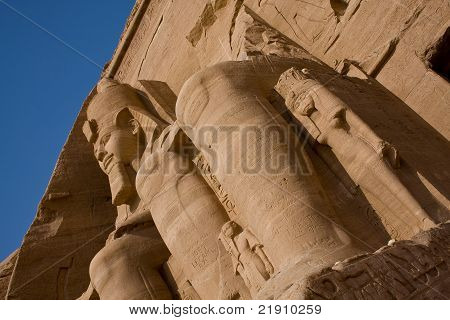 Ancient statues at Abu Simbel temple in Egypt