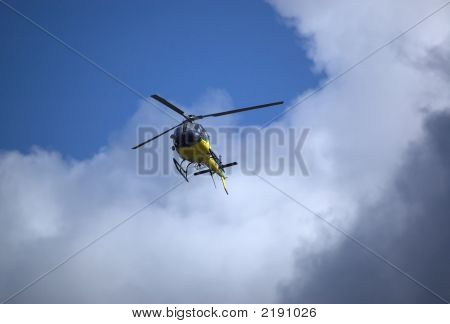 Helicopter In The Sky. Bottom View.