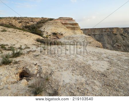 Steppe rocks. Cavity. Arid landscape. Kazakhstan. Mangistau region.