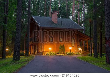 Country house (dacha) in late summer night
