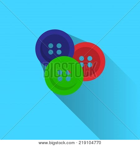 Colorful Buttons For Clothes Garments On Blue Background Flat Vector Illustration