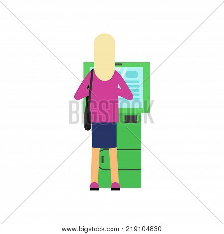 Blonde woman using cash machine ATM . Cartoon female character in pink sweater and blue skirt, back view. Banking and money theme. Vector illustration in flat style isolated on white background.