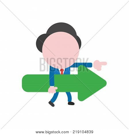 Vector Illustration Concept Of Faceless Businessman Character Pointing Up With Arrow Moving Up