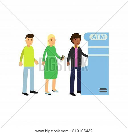 Black curly-haired guy withdrawing money from ATM. Young woman and man standing in queue near cash machine. Bank theme. Cartoon people characters in flat style. Vector illustration isolated on white.
