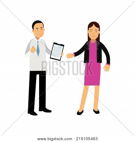 Young businesswoman and bank consultant standing isolated on white. Customer service. Banking and financial affairs concept. Cartoon people characters. Colorful vector illustration in flat style.