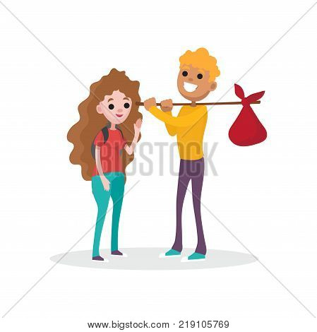 Couple prepared for at picnic standing with backpack and ban on wood stick. Family recreation. Hiking or camping concept. Vector cartoon flat boy and girl characters isolated on white background.