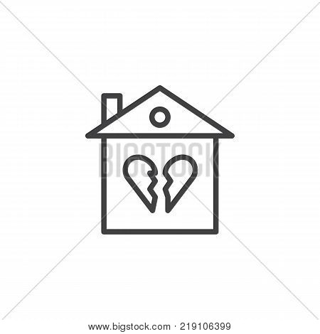 Broken family house line icon, outline vector sign, linear style pictogram isolated on white. Home with broken heart symbol, logo illustration. Editable stroke