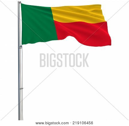 Isolate flag of Benin on a flagpole fluttering in the wind on a white background 3d rendering