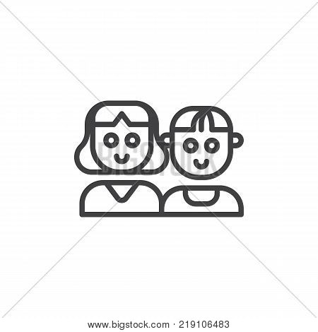 Mother Son Line Icon Vector Photo Free Trial Bigstock