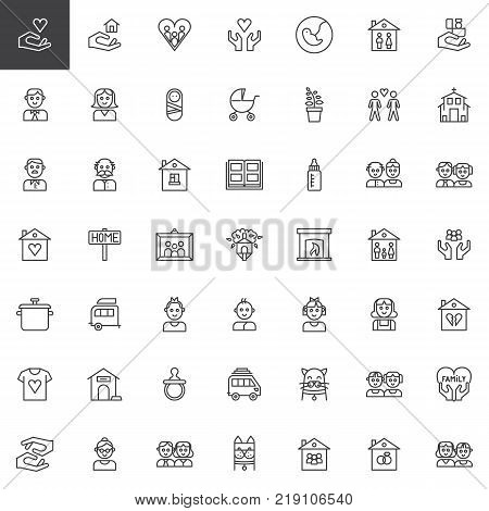 Family relatives line icons set, outline vector symbol collection, linear style pictogram pack. Signs, logo illustration. Set includes icons as pregnancy, baby, father, mother, newborn, grandfather