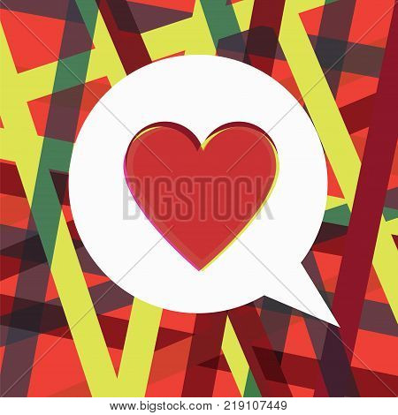 Heart in a speech bubble concept. Stock vector illustration of a heart shape for love chat romantic message or social media post in modern high-tech style.