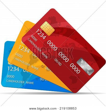 Set of Premium Credit Cards. Vector Illustration EPS 10. Isolated. 3 colors of Credit Cards.