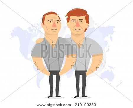 President Donald Trump and Vladimir Putin. Russia and America. Caricature vector illustration.