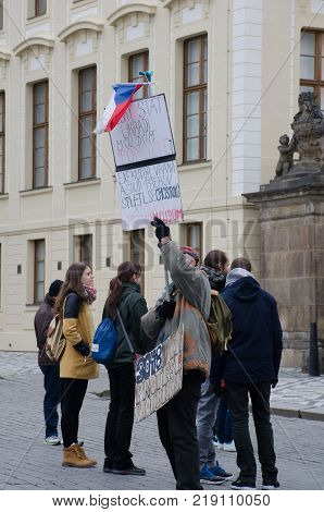 Prague Czech Republic -6 December 2017: Lone protester about losing property prague castle