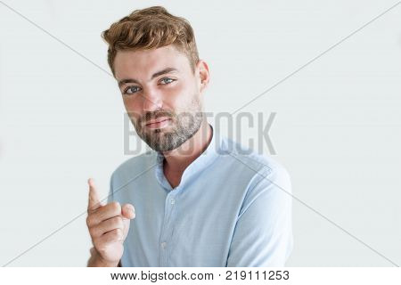 Closeup portrait of inspired with new idea handsome young man raising his finger. Businessman discovered new decision. Decision making concept