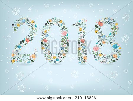 Number 2018. Blue floral numerals. Watercolor flowers and plants. Gray background with snow. Vector Illustration