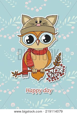 Cute colorful owl in hat sitting on rowan tree. Funny vector illustration in cartoon style on blue background with rowanberry. Can be used like sticker or for birthday cards and invitations. Happy day