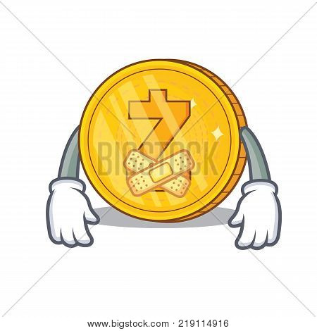Silent Zcash coin character cartoon vector illustration