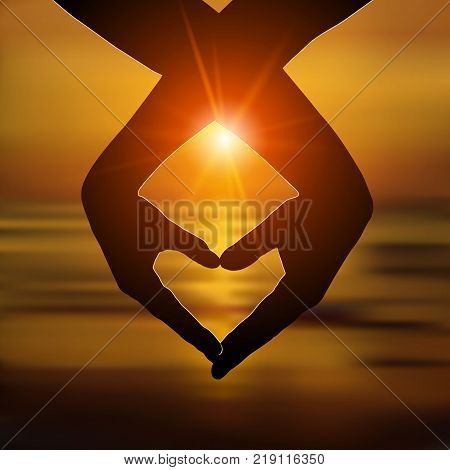 Loving couple makes a heart with hands on the beach at sunset. Love, romantic relationship concept. Vector illustration