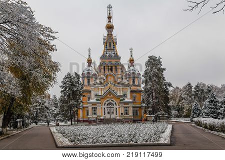 ALMATY, KAZAKHSTAN - OCTOBER 28, 2014: The Ascension Orthodox Cathedral in late autumn