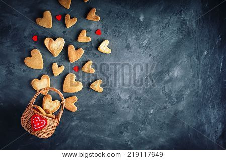 Valentines day card. Mother's day. Womans day. Cookies in Shape of Hearts for Valentine's Day. Background with copy space.