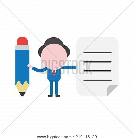 Vector cartoon illustration concept of faceless businessman mascot character pointing yellow closed folder symbol icon.