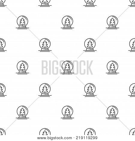 Christmas New Year seamless pattern with snow ball. Holiday background. Christmas snow globe ball. Xmas winter trendy decoration. Festive texture. Line vector illustration. Wrapping gift paper