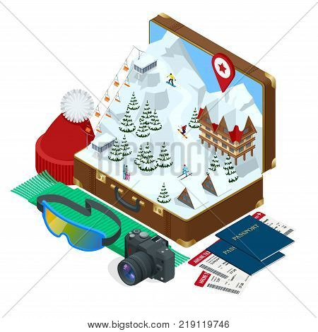 Ski resort, slope, people on the ski lift, skiers on the piste among white snow pine trees and hotel. Winter holiday web banner design. Vector isometric illustration